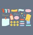 notebook paper note kawaii set emoji sticker vector image vector image