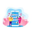 online love chat cartoon flat vector image vector image