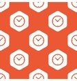 Orange hexagon clock pattern vector image vector image