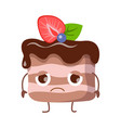 piece of cake with cream disappointed character vector image vector image