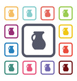 pitcher flat icons set vector image