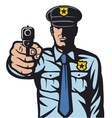 policeman pointing a gun vector image