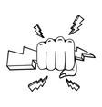 pop art hand holding ray cartoon in black vector image vector image