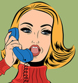 pop art retro woman in comics style talking on the vector image vector image