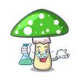 professor green amanita mushroom character cartoon vector image vector image