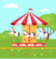 rotating horses carousel in city park vector image