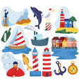 sea and lighthouse isolated icons vector image