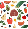 seamless pattern with healthy food such as meal vector image vector image