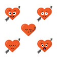 set of five heart expression cartoon character vector image vector image