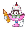 student ice cream sundae character cartoon vector image vector image