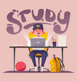 student or schoolboy studying at computer vector image vector image