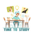 student thinking above book design concept vector image vector image