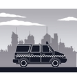 taxi van car side view town background vector image