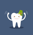 tooth attacked by germs of caries cartoon flat vector image