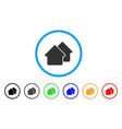village rounded icon vector image