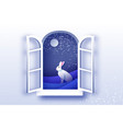 white winter rabbit in paper cut style merry vector image