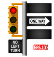 yellow classic traffic light on a pole in usa vector image vector image
