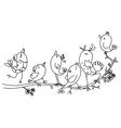 singing birds on tree vector image