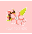 Greeting card with apricot blossom branch Spring vector image