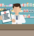 Modern flat of a male pharmacist showing medicine vector image