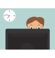 Hard working businessman with red eyes in office vector image