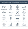 16 grow icons vector image vector image