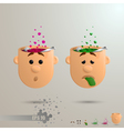 3D set of two brain emotions vector image vector image