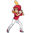 baseball batter girl vector image vector image