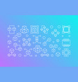 block chain creative banner in outline vector image