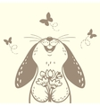 bunny cute silhouette vector image
