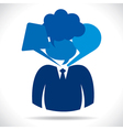 businessmen head with different bubble vector image vector image