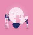 businessmen sitting on ladder completing an idea vector image