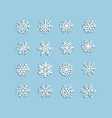 collection white christmas snowflakes in vector image