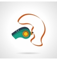 Colorful sport whistle flat icon vector image
