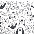 cute doodle dog pattern on white background vector image vector image