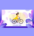 cycling time landing page offering city eco tour vector image