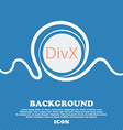 DivX video format sign icon symbol Blue and white vector image