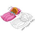 doodle girl character sleeping vector image vector image