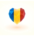 Flag of Chad in shape diamond glass heart vector image