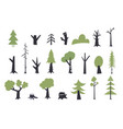 flat trees set flat forest tree nature plant vector image vector image