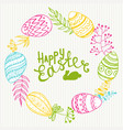 frame of isolated easter eggs and twigs vector image