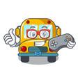 gamer school bus mascot cartoon vector image