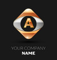 golden letter a logo in the golden-silver square vector image