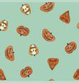 halloween pumpkin seamless retro pattern vector image