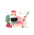 happy woman sitting on sofa with laptop vector image vector image