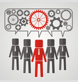 he heads of five people with gears the concept of vector image vector image