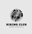 hiking club with footprints on vector image vector image