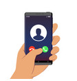 incoming call on smartphone screen one hand holds vector image vector image