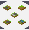 isometric road set of incomplete plash sand vector image vector image
