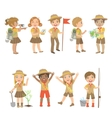 Kids Scouts Camping Set vector image vector image